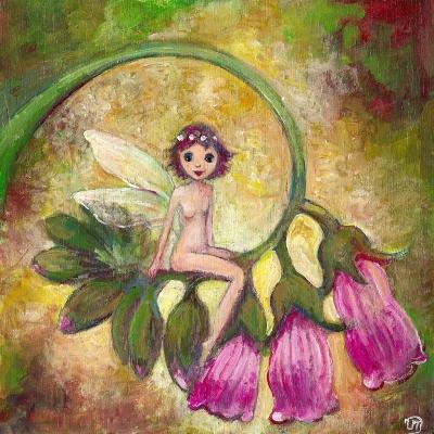 tableau `petite féé à la fleur rose` Acrylique sur bois 20 x 20 cm